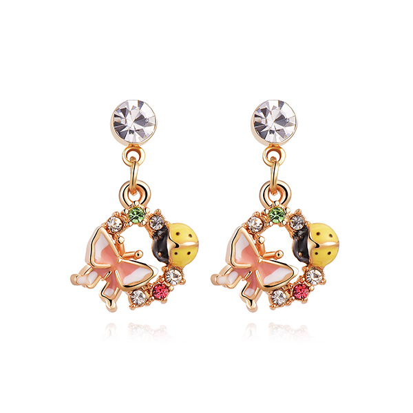 STK336 森林系蝴蝶瓢蟲 黏式耳環