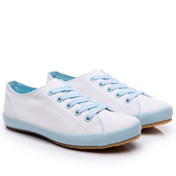 SHE061 MIT台灣製-休閒日常撞色膠底帆布鞋