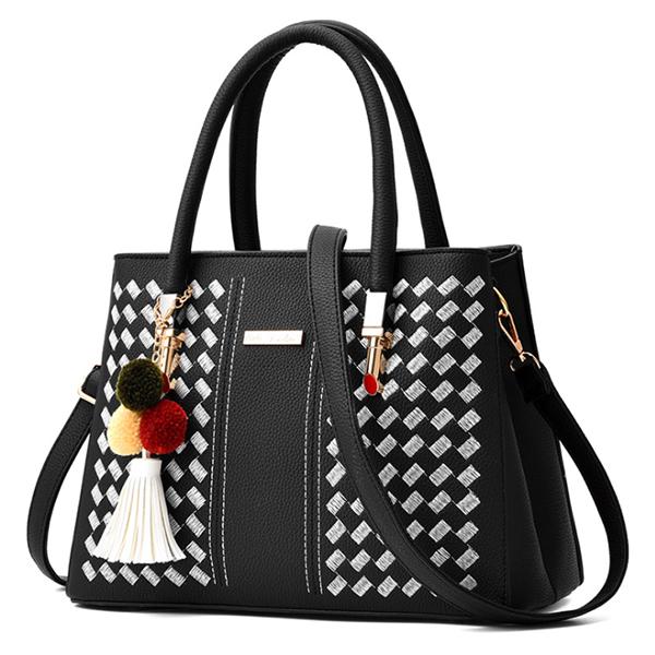 LDB502 韓版刺繡毛球側背手提包