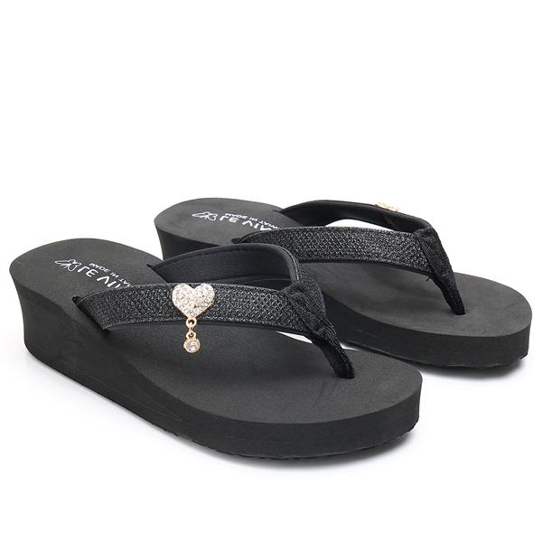 SHE069 MIT台灣製-水鑽愛心厚底夾腳拖鞋