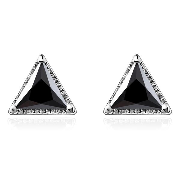 STK158 韓流三角鑲鑽 無耳洞黏貼式耳環