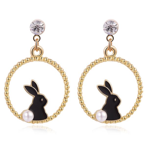 STK376 甜美可愛黑白小兔 無耳洞黏貼式耳環
