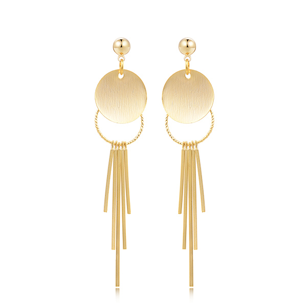 STK347 簡約金屬流蘇 耳針/黏式耳環