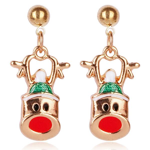 STK617 【3款】聖誕節限定-麋鹿彩球聖誕帽 耳針/無耳洞黏貼式耳環