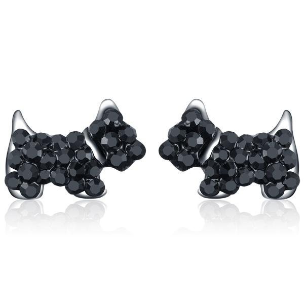 STK265 【專區3件85折】個性可愛狗狗 耳針/無耳洞黏貼式耳環