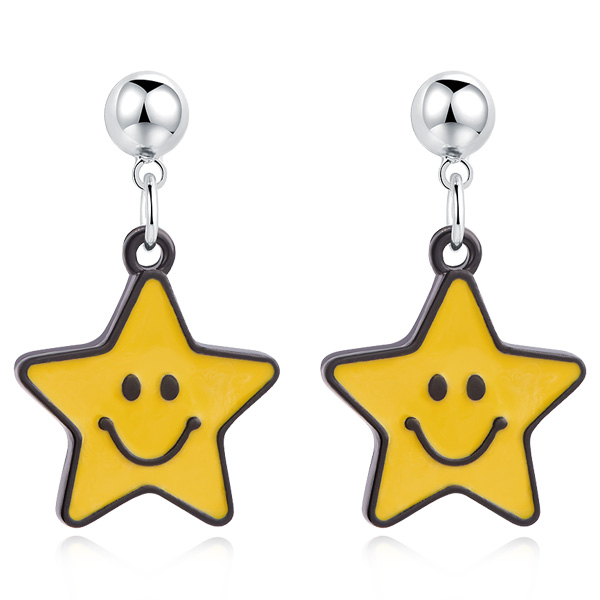 STK458 亮眼黃色笑臉星星 無耳洞黏貼式耳環