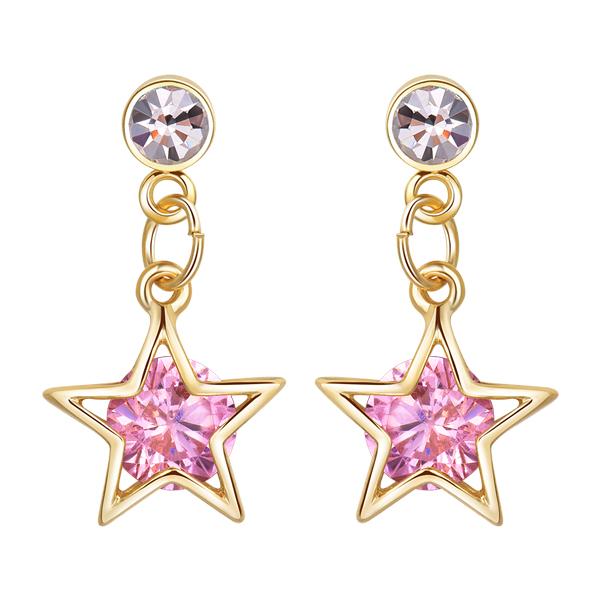 STK178 閃亮氣質鑽石星星 耳針/黏式耳環