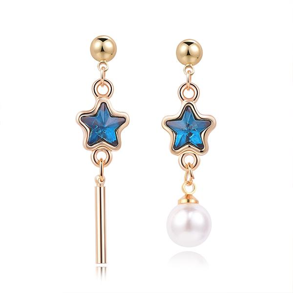 STK302 深邃藍鑽五角星珍珠不對稱 耳針/黏式耳環