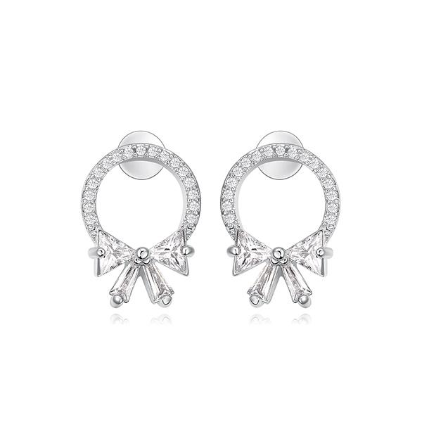 STK342 甜美氣質蝴蝶結鑲鑽 黏式耳環