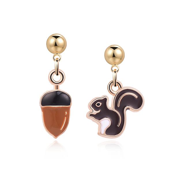 STK298 松鼠與栗子 耳針/黏式耳環