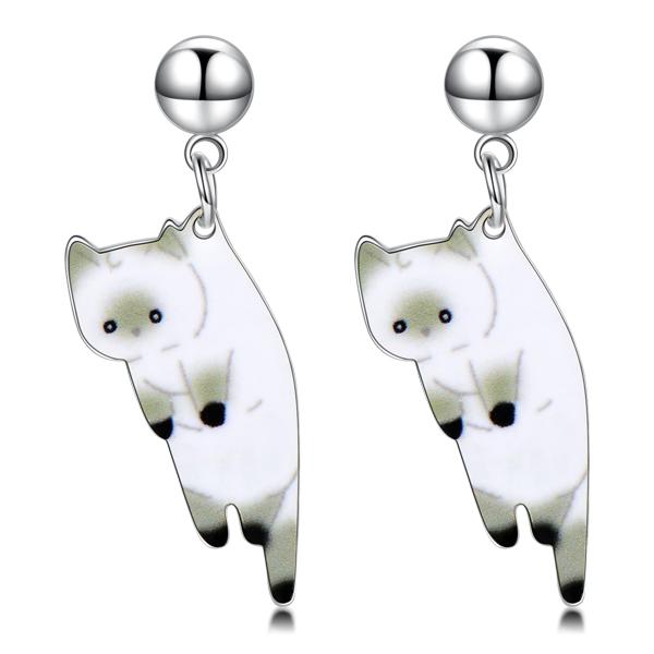 STK246 俏皮呆萌黑白小貓咪 耳針/無耳洞黏貼式耳環