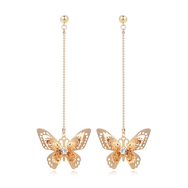 STK365 甜美氣質立體蝴蝶 耳針/黏式耳環