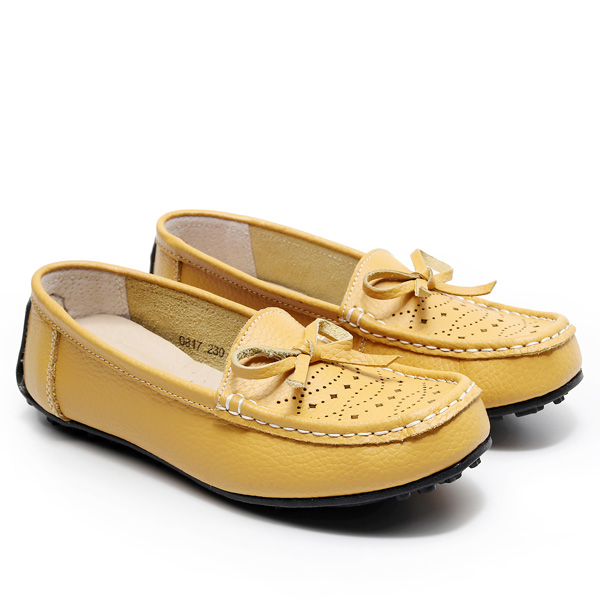 SHE065 MIT台灣製-氣質簍空雕花蝴蝶結樂福鞋