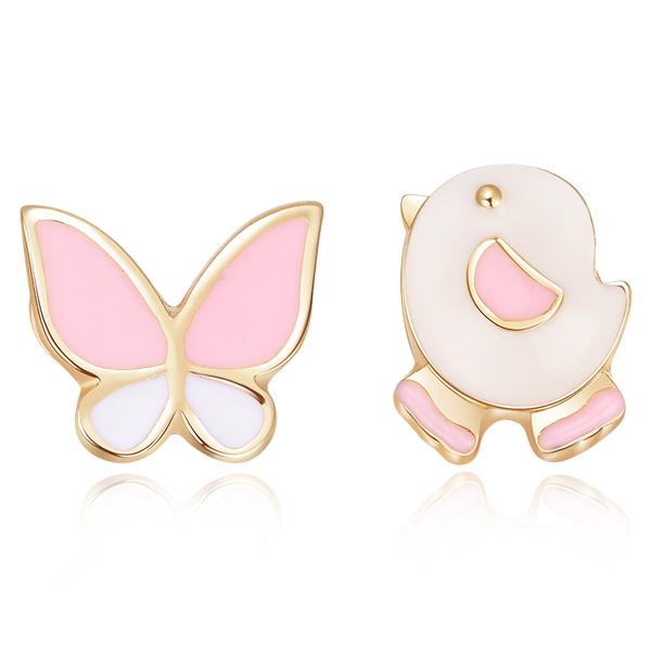 STK172 小雞與蝴蝶不對稱 耳針/無耳洞黏貼式耳環
