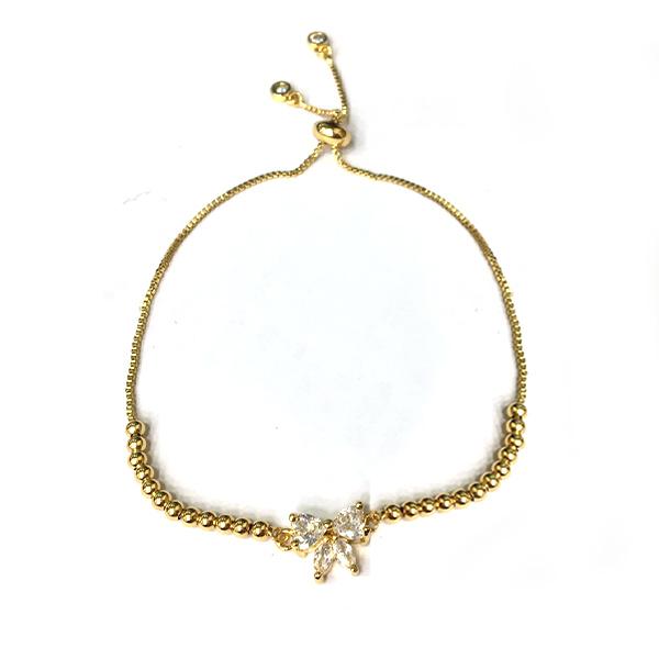 BRC035 閃耀甜美蝴蝶結鑲鑽圓珠手鍊