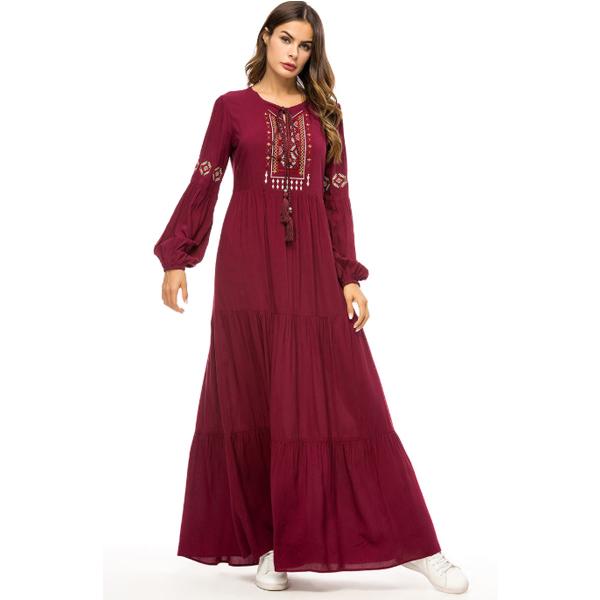 DRS024 穆斯林簡約刺繡A字連身裙