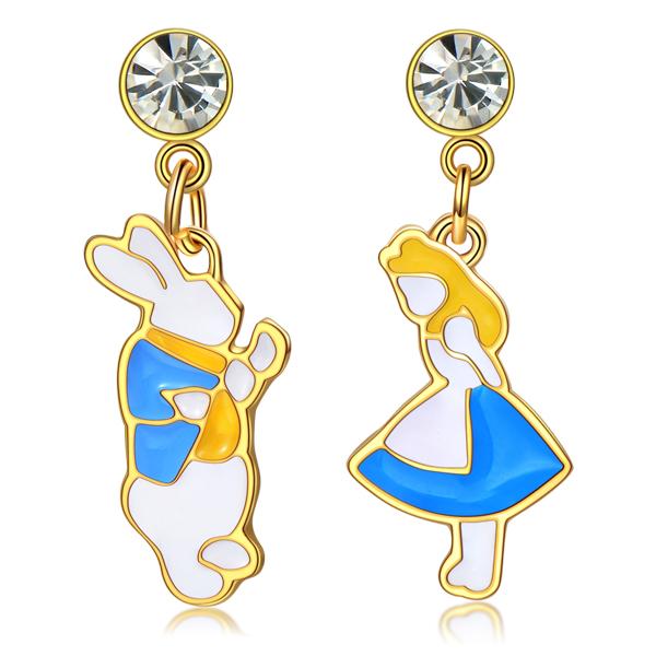 STK247 愛麗絲與白兔先生不對稱 無耳洞黏貼式耳環