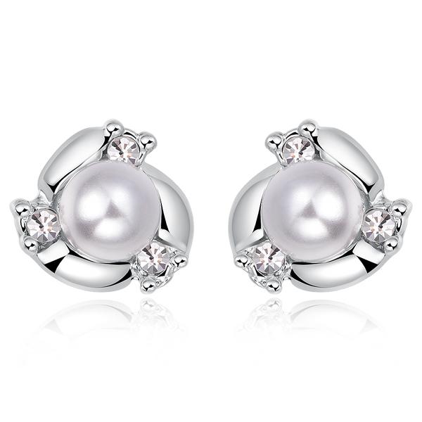 STK154 【專區3件85折】奢華高雅珍珠水鑽 耳針/無耳洞黏貼式耳環