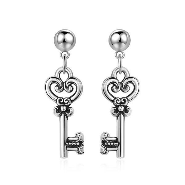 STK438 韓版復古金屬鑰匙 耳針/黏式耳環