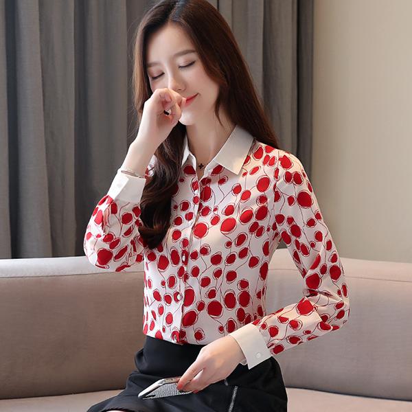 TST098 韓版時尚波點雪紡襯衫
