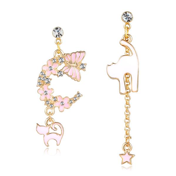 STK073 粉色櫻花貓咪星星不對稱 耳針/無耳洞黏貼式耳環