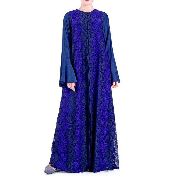 TST091 穆斯林蕾絲寶藍喇叭袖長裙