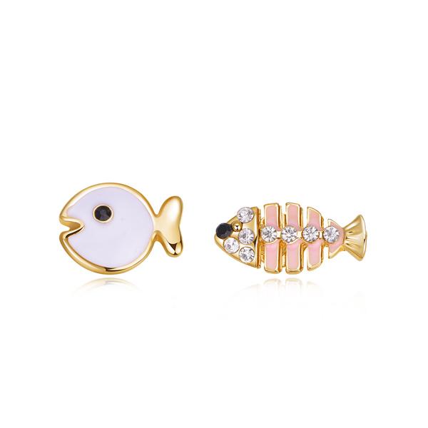 STK173 萌趣小魚與魚骨頭不對稱 耳針/黏式耳環